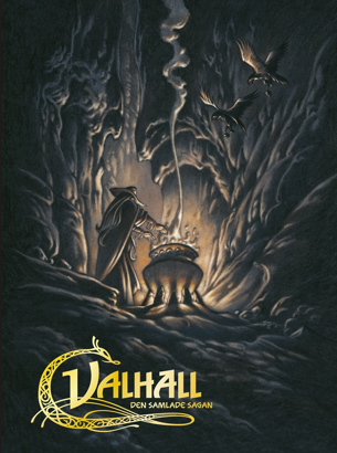 Valhall Volym 4. Teknad seriebok om de fornnordiska gudarna.  Mysteriet om Skaldemjöden samt Genom eld och vatten.
